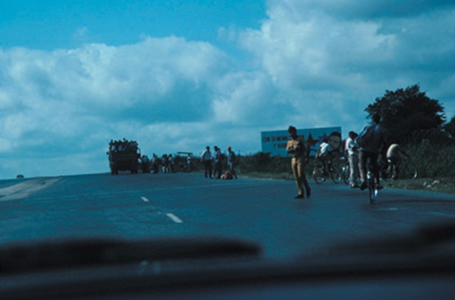 On the highway in Cuba, 1993. People waiting for a ride.