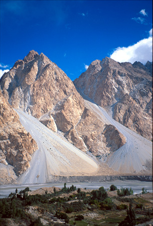 Pamir Mountain range on the way from China to Pakistan.