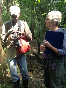 Nelson, our field guide, and Pat, an Earthwatch volunteer, examine our data.