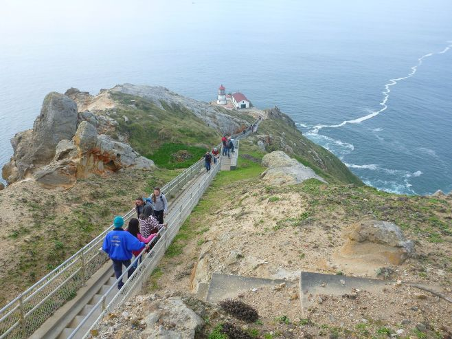 Visitors walking down to the Pt. Reyes Lighthouse.